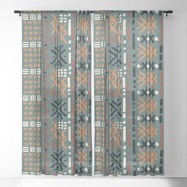Mudcloth No. 2 in Tri-Color Green Sheer Curtain