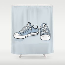 Grey Sneakers Shower Curtain