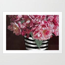 Striped Roses Art Print