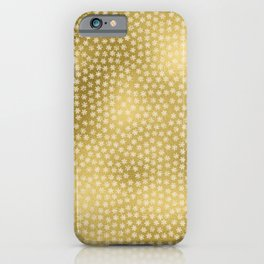 Merry christmas- white winter stars on gold pattern iPhone Case