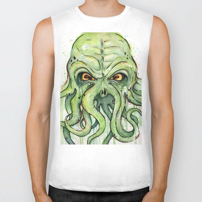 Cthulhu HP Lovecraft Green Monster Tentacles Biker Tank