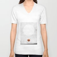 copper V-neck T-shirts featuring white & copper by LEEMO