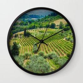 Tuscany Hillside, San Gimignano, Italy Wall Clock