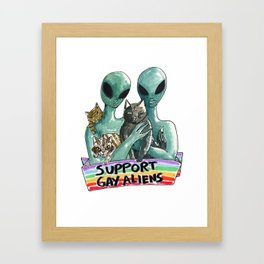 support gay aliens Framed Art Print