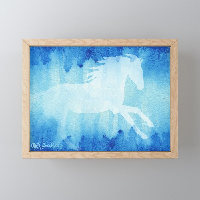 Horse Running Blue Watercolor Framed Mini Art Print