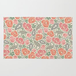 Orange poppies and red roses with keys on light background Rug