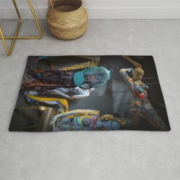 Doberman in Bird Cage Modeling with Nude Painted Mannequins Artistic and Colorful Rug