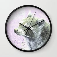 racoon Wall Clocks featuring sketched racoon by MehrFarbeimLeben