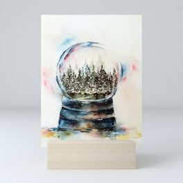 Snow globe - watercolour illustration Mini Art Print