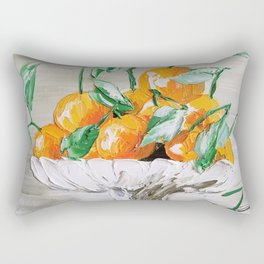 Fruit of Life, Oranges in vase, fruit print, oranges print, oranges bouquet, orange and green Rectangular Pillow