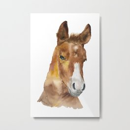 Horse Head Watercolor Metal Print