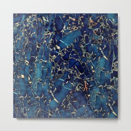 Dark blue stone marble abstract texture with gold streaks Metal Print