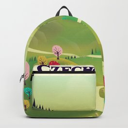 czechoslovakia travel poster Backpack