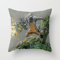 guardians of the galaxy Throw Pillows featuring Guardians by theMAINsketch