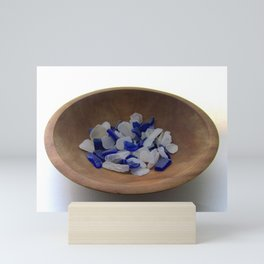 Cobalt and White Sea Glass Mini Art Print