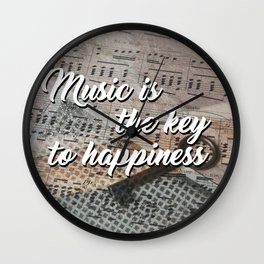 Music is the key to happiness Wall Clock