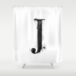 J. - Distressed Initial Shower Curtain