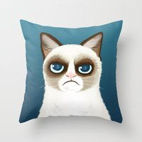 grumpy Throw Pillows featuring Grumpy by StudioMarimo
