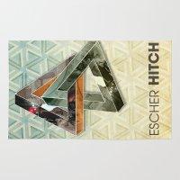escher Area & Throw Rugs featuring escher hitch by Vin Zzep