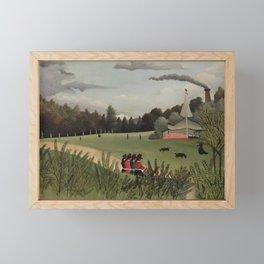 Landscape and Four Young Girls (Paysage et quatre jeunes filles) (ca. 1895) by Henri Rousseau. Framed Mini Art Print