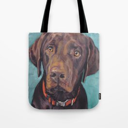 Chocolate lab LABRADOR RETRIEVER dog portrait painting by L.A.Shepard fine art Tote Bag