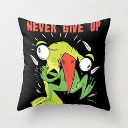 Never Give Up Bird And Frog Throw Pillow