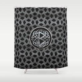Berkana Rune  Mettallic Embossed Shower Curtain