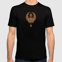 Golden Red Winged Egyptian Scarab Beetle with Ankh T-shirt
