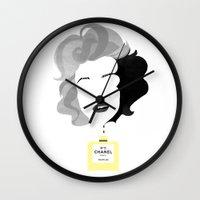 marylin monroe Wall Clocks featuring Marylin by Luigi D'Onofrio