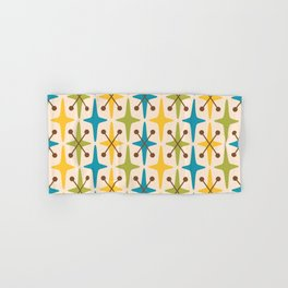Mid Century Modern Abstract Star Pattern 441 Yellow Brown Turquoise Chartreuse Hand & Bath Towel