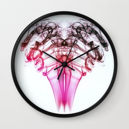 Smoke Ram- Pink and Black on White Wall Clock
