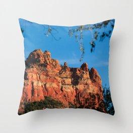 Rearing Red Rock Throw Pillow