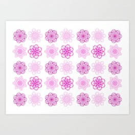 Pretty in Pink, pink geometric flower mandalas Art Print
