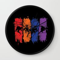 teenage mutant ninja turtles Wall Clocks featuring TEENAGE MUTANT NINJA TURTLES by Beka