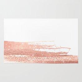 Rosegold brush strokes on white Rug