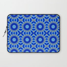 Blue and Yellow Circle Repeating Pattern Laptop Sleeve