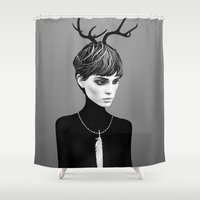 ruben Shower Curtains featuring The Cold  by Ruben Ireland