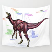 muscle Wall Tapestries featuring Eoraptor Muscle Study by Rushelle Kucala Art