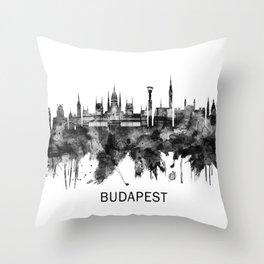Budapest Hungary Skyline BW Throw Pillow