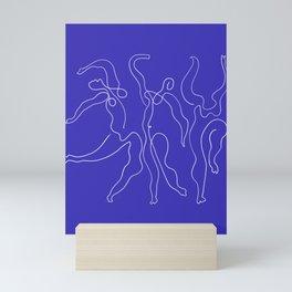 Picasso Line Art - Dancers - Blue Background Mini Art Print