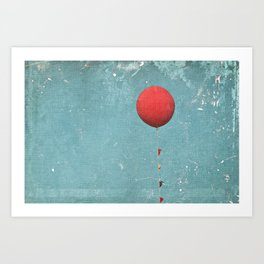 Big Red Balloon -- Minimal Whimsical Painterly Canvas with rustic vintage charm Art Print