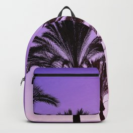 Purple Californian Vibes Palm tree beach photography Backpack