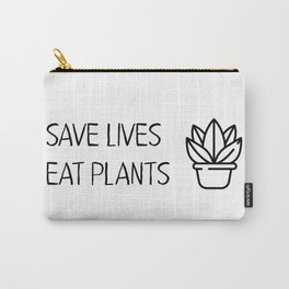 Save lives eat plants Vegan Quote Cool Carry-All Pouch