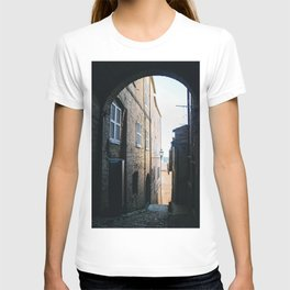 Photo of a narrow Italian Street during golden hour in a little Town called Fermo in le Marche, Italy | Fine Art Colorful Travel Photography |  T-shirt