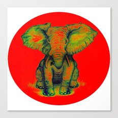 Elephant with Tiny Bird Canvas Print