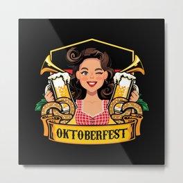 Oktoberfest Frau Drindl Beer Metal Print