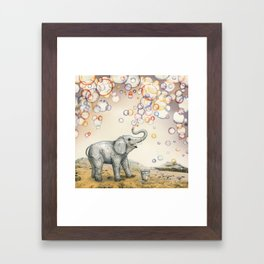 Elephant Bubble Dream Framed Art Print