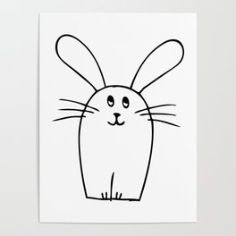 wonky bunny doodle Poster