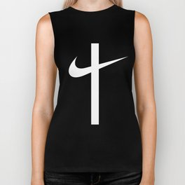 Swoosh Cross (... And Deliver Us From Evil) / White Biker Tank