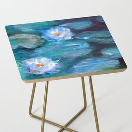 Blue Water Lilies Side Table